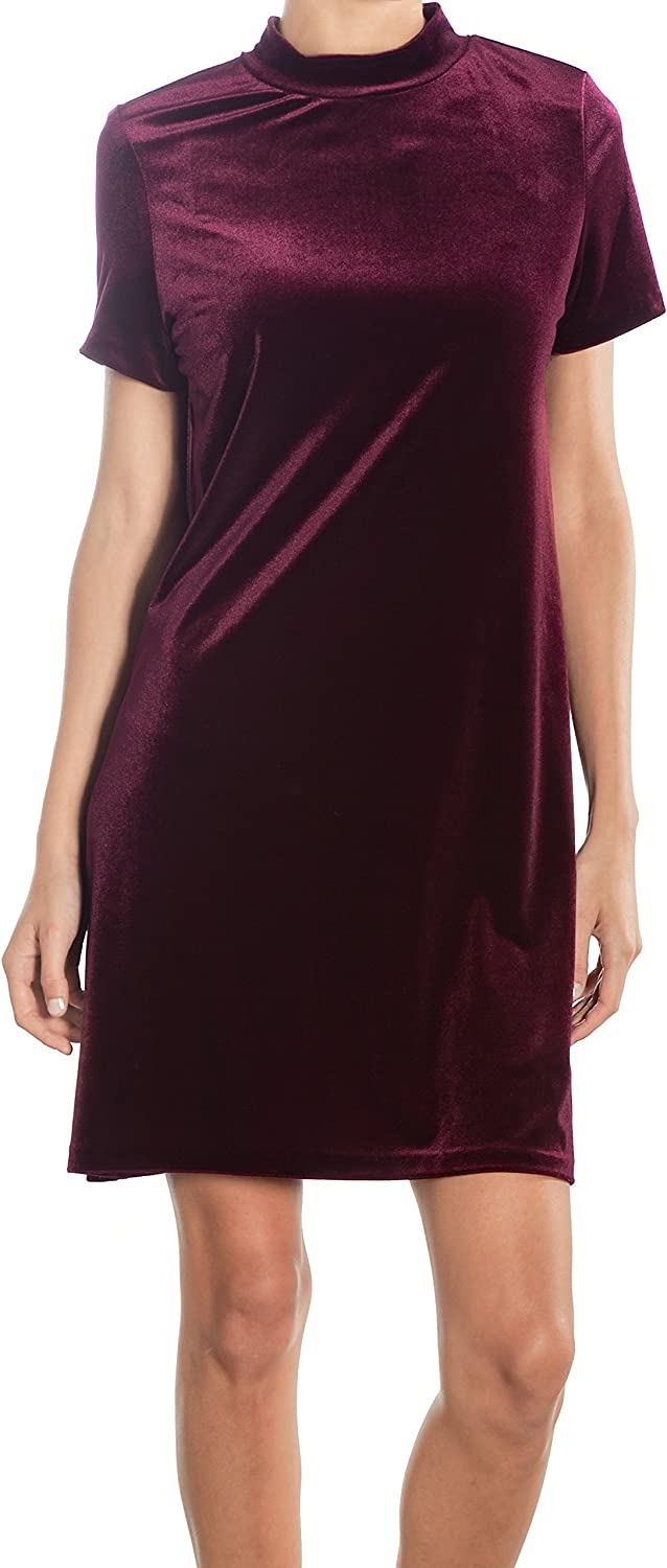 Shopatniche Velvet Burgundy Mock Neck Junior TShirt Dress by Necessary Objects