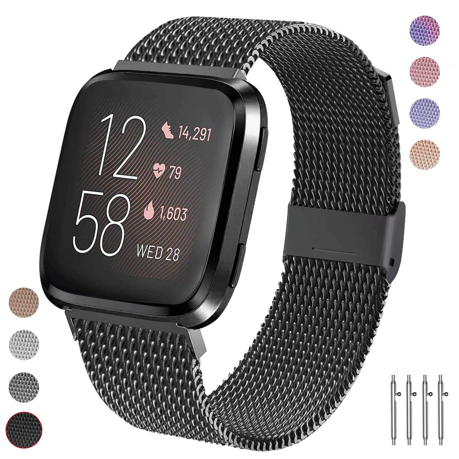 Adjustable Metal Stainless Steel Bands Quick Release Replacement Wriststrap with Unique Magnet Lock for Fitbit Versa Mugust Compatible with Fitbit Versa 2 and Fitbit Versa//Versa Lite Edition Strap