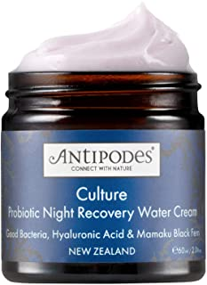 Antipodes Culture Probiotic Night Recovery Water Cream – Facial Moisturiser with Hyaluronic Acid & Probiotics For Calm, Cl...