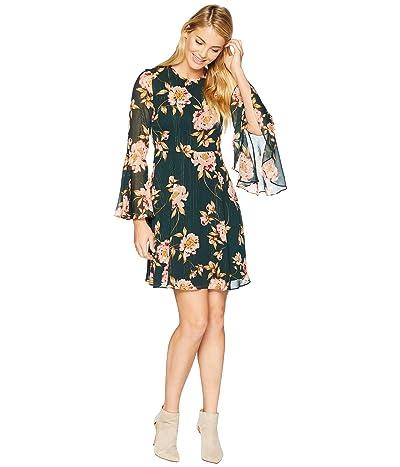 Donna Morgan Lurex Chiffon Fit and Flare Dress (Jungle Green/Blush Multi) Women