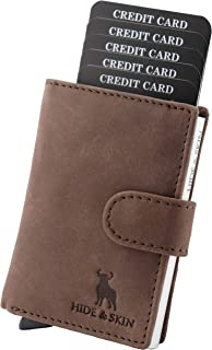HIDE & SKIN Unisex Leather RFID Blocking Card Holder (Brown)