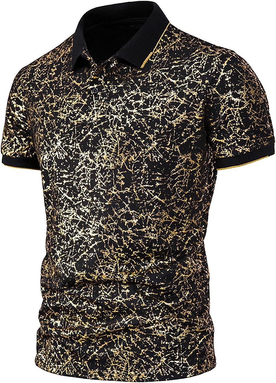 Fashion Men Short Sleeve T-Shirts Casual Turn Down Collar T-Shirts Golden Printed Cotton Polo-Shirt Blouse