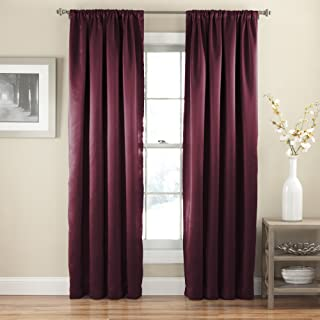 """ECLIPSE Tricia Thermal Insulated Single Panel Rod Pocket Light Blocking Curtains for Living Room, 52"""" x 84"""", Sangria"""