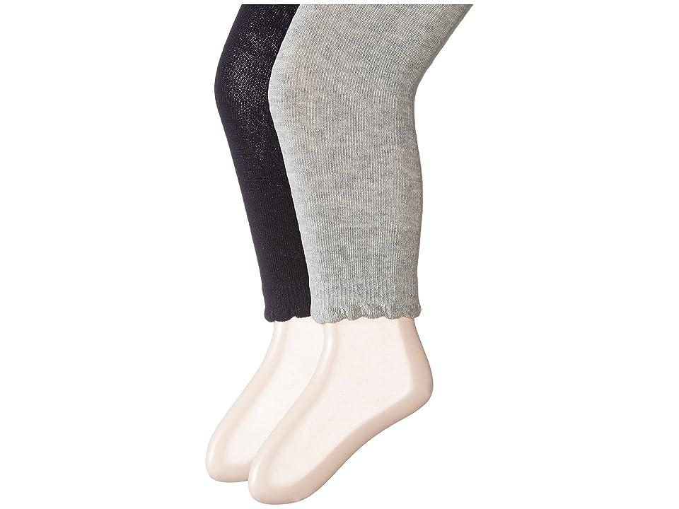 Jefferies Socks Scalloped Pima Cotton Footless Tights 2-Pair Pack (Toddler/Little Kid/Big Kid) (Navy/Grey) Hose, Gray
