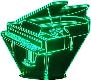 PIANOFORTE A CODA, Lampada illusione 3D con LED - 7 colori.