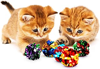 SunGrow Mylar Crinkle Balls for Cats, 1.5-2 Inches, Shiny and Stress Buster Toy, Lightweight and Suitable for Multiple Cats' Play, Ideal for Kittens and Adult Cats