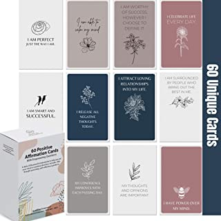 Dessie Affirmation Cards for Women With Thought-Provoking Questions. 60 Unique EARTH TONE Affirmation Cards w/ 100+ Empowe...