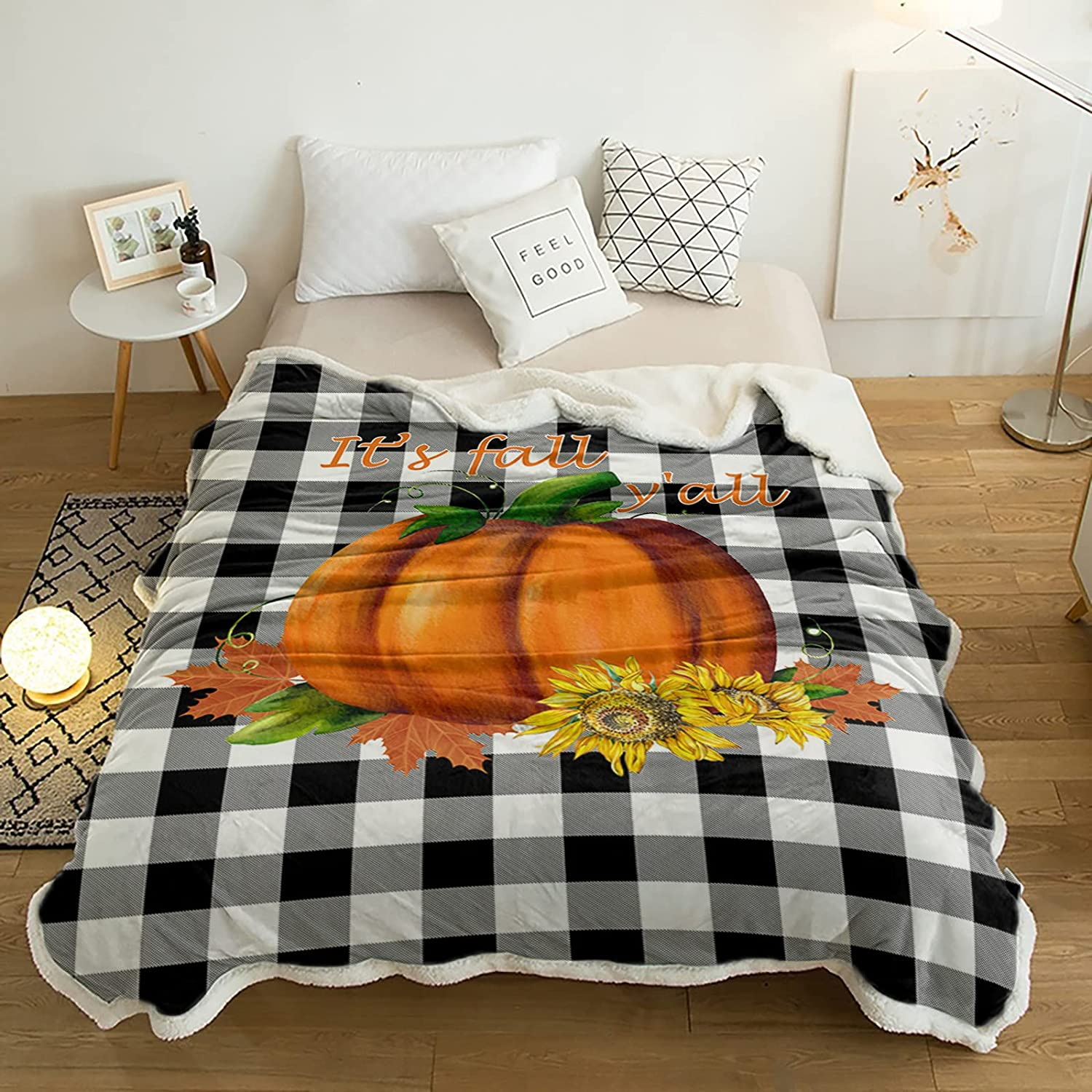 Sherpa Fleece low-pricing Throw Blanket on Thanksgiving Sunflowers Pumpkins Max 81% OFF