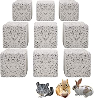 S-Mechanic 9Pcs Hamster Chew Toy Lava Square Stone Teeth Grinding Toys Mineral Stone Chew Toy for Hamsters, Chinchillas, R...