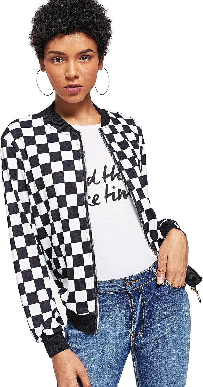 WDIRARA Women's Zip Front Plaid Print Long Sleeve Stand Collar Casual Jacket
