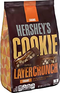 HERSHEY'S Cookie Layer Crunch Chocolate Candy Bar, Caramel, 9 Piece Bag (Pack of 8)