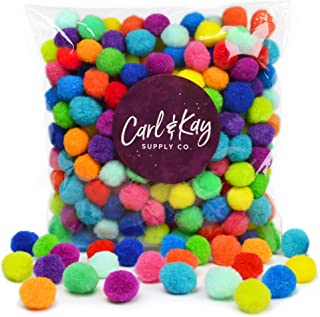 Carl & Kay [250 Pcs] 1 Inch Pom Poms in Bright & Bold Assorted Colors | Craft Pom Pom Balls | Pompoms for Crafts | Pom Pom for Crafts