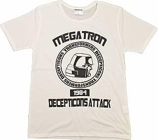 トランスフォーマー【国内公式監修】Tシャツ メガトロンフェイスカレッジデザイン (XL, オフホワイト)