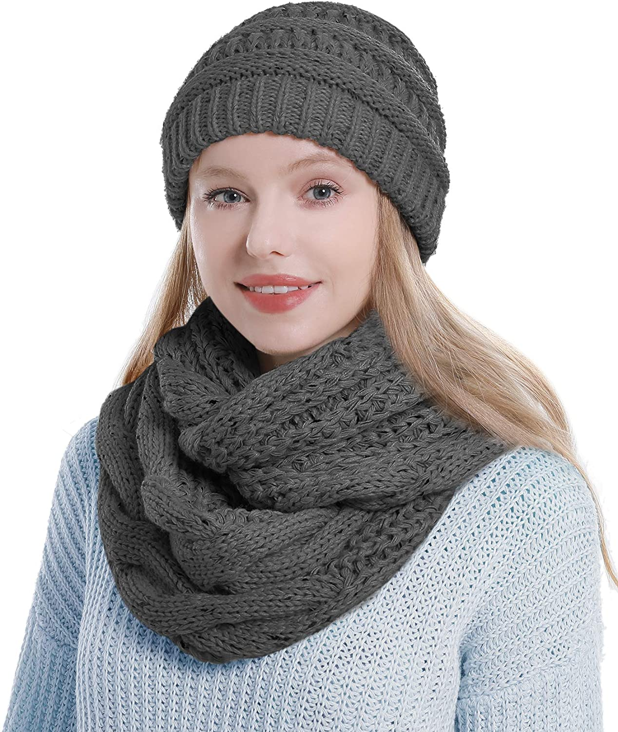 Womens Scarf Beanie Hat Set Thick Winter Infinity Scarf Knit Scarfs for Women