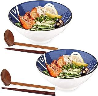 Ceramic Japanese Ramen Bowls, 2 Sets (6 Piece) 40 Ounce - Ceramic Ramen Noodle Soup Bowls with Matching Spoon and Chopstic...