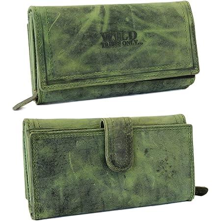 irisaa Damen Leder Wild Geldbörse, Portemonnaie Lang Geldbeutel,RFID Schutz 21 Kartenfächer, Brieftasche Groß, Vintage Design Used Look