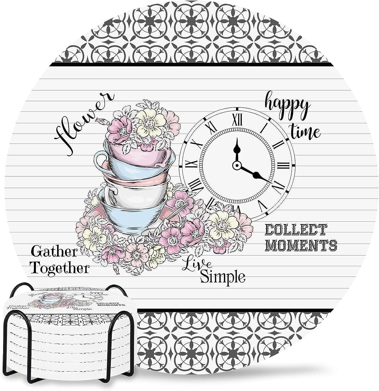 Floral 4 35% OFF inch Ceramic Coaster trend rank for Drink Women Men