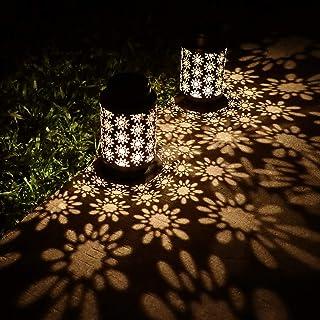 Yinuo Light 2 Pack Solar Lanterns Outdoor Hanging Retro Metal Landscape Lighting for Patio Yard Pathway Decorative, Black