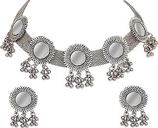 Total Fashion Women's Base Metal Afghani Oxidised German Silver Jewellery Stylish Antique Mirror Choker Necklace Set (Silver)