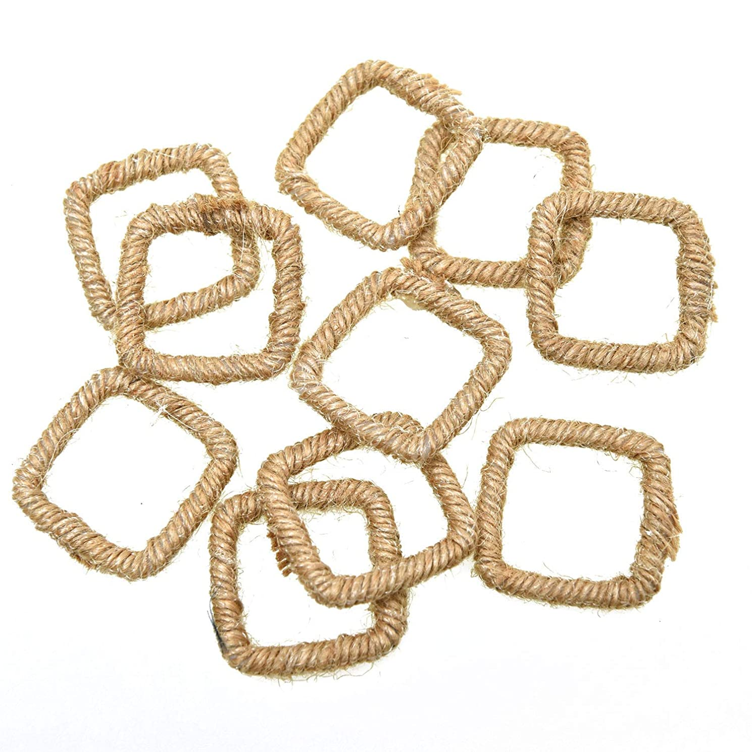 Monrocco 10Pcs Geometric Charms Burlap Jute Hemp Wire Line Charm Pendant for Jewelry Making Earring DIY Craft Jewelry Fingdings (Khaki)