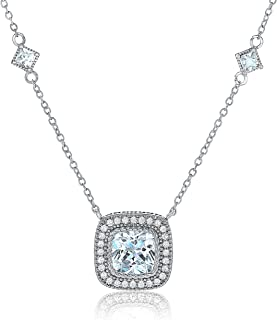 Features a Dazzling Cushion Cut Cubic Zirconia Stone Measuring 9x9mm, as Well as 60 Round-Cut Cubic Zirconia Stones Each Measuring 1.4mm, and 2 Dazzling Square-Cut Stones Each Measuring 5x3.5mm.