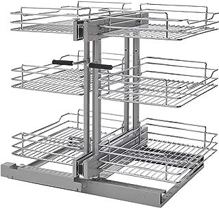 Rev-A-Shelf 15 in Three-Tier Blind Corner Organizer Soft -Close, Chrome