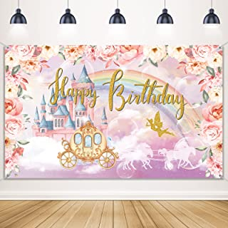 Princess Birthday Party Decorations Supplies Princess Theme Backdrop Background Banner for Girl Birthday Party Favor Gold ...