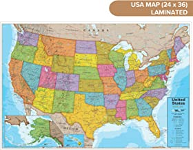 "Waypoint Geographic Blue Ocean USA Wall Map (24"" x 36"") - Current UP-to-Date - 1000's of Named Locations & Points of Interest - Rolled & Laminated - Display in Office, Classroom or Home"