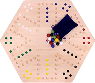 "AmishToyBox.com Large Wooden Aggravation Marble Board Game Set, 24"" Wide Double-Sided Maple-Wood Board"
