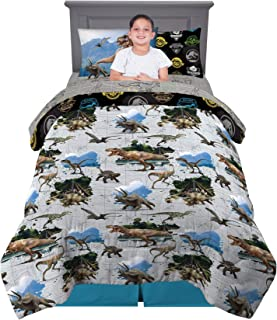 Franco Kids Bedding Super Soft Comforter and Sheet Set with Bonus Sham, 5 Piece Twin Size, Jurassic World