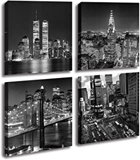New York City Canvas Wall Art Print Black and White Brooklyn Bridge,Empire State Building..