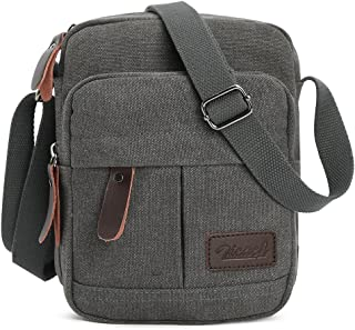 Zicac Men's Retro Small Canvas Cross Body Messenger Bags Satchel Bag (Gray)