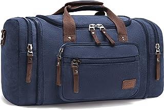 Fresion Unisex Canvas Reisetasche Tote Handtasche Männer Weekender Umhängetasche Freizeittasche Handgepäck für Frauen & Männer mit 40L Blau