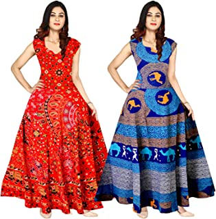 d60bcbf577 Mudrika Women's Cotton Digital Printed Anarkali Long Gown (Multicolour,  Free Size) Combo Pack