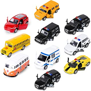 Die-cast Metal Toy Cars Set of 10, Openable Doors, Pull Back Car, Gift Pack for Kids (Official Car & Police car)