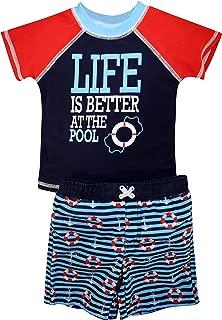 Boys Short Sleeve 2-Piece Rashguard Swimsuit Set | Swimwear for Kids