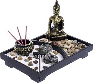 London Boutique Zen Garden Porte encens Bougie Sable Blanc et Pierres décoratives (Bouddha Thaï), L23W16h3cm