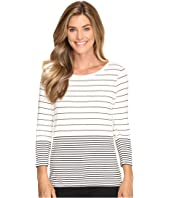 Calvin Klein - 3/4 Sleeve Mixed Stripe Top