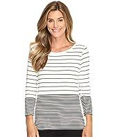 Calvin Klein - 3/4 Sleeve Mixed Stripe Top