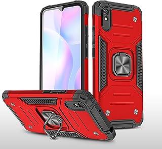 جراب NIUNU لهاتف Xiaomi Redmi 9A، جراب واقٍ هجين مزدوج الطبقات مقاوم للصدمات مع مسند حلقي وغطاء خلفي مغناطيسي للسيارة (Red...