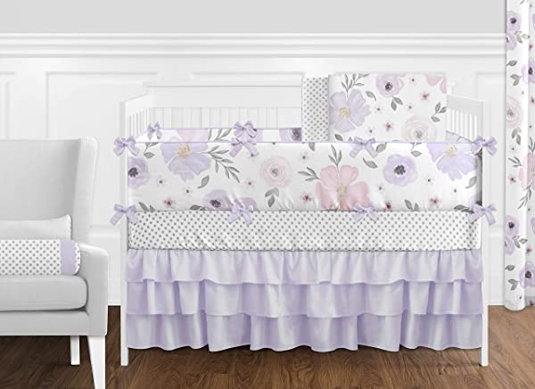 Sweet Jojo Designs Lavender Purple Pink Grey And White Shabby Chic Watercolor Floral Baby Girl Nursery Crib Bedding Set With Bumper 9 Pieces Rose Flower Polka Dot