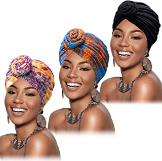 3 Pieces Flower Knot Headwrap Pre-Tied Bonnet Turban Beanie African Pattern (Style B)
