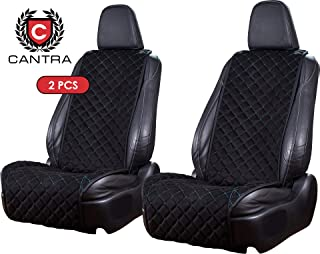Cantra Z-Model | Front Car Seat Covers | Car Seat Protectors | Premium Quality | 100% Handcrafted | Compatible with 90% Cars, Trucks, SUVs, Minivans | 2-pc | Black with Blue Stitching