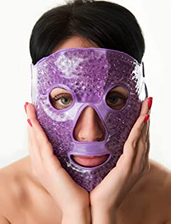 Full Face Eye Gel Mask - Cooling Face Compress Pack - Eye Gel Masks For Puffiness - Cooling Eye Mask For Headaches - Ice F...