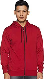 WOKNIT Men's Hooded Zipper Full Sleeve Maroon Sweatshirt