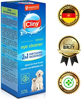 Cliny Universal Eye Cleaner for Dogs and Cats - Natural Treatment for Eye Infection and Effective Tear Stain Remover