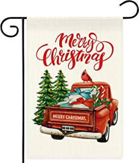 DSWEESUN Red Truck Christmas Garden Flag, Double Sided Premium Durable Winter Holiday Flags, Rustic Farmhouse Christmas Pa...