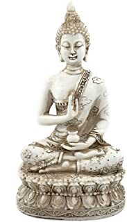 ornerx Thai Sitting Buddha Statue for Home Decor Ivory 6.7""