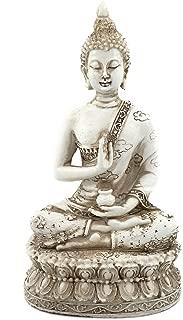 ornerx Thai Sitting Buddha Statue for Home Decor Ivory 6.7