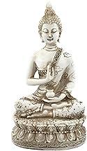 (White) - Ornerx Thai Sitting Buddha Statue for Home Decor Ivory 17cm